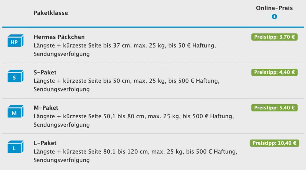 Preise für den Hermes Versand innerhalb Deutschlands